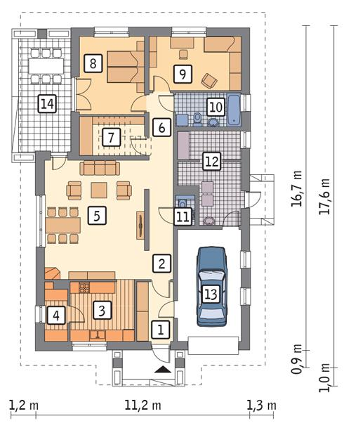 Rzut parteru POW. 135,1 m²