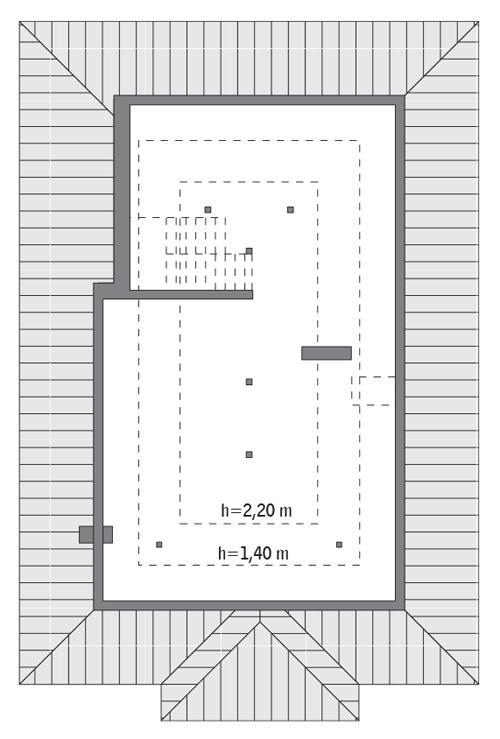 Rzut poddasza: do indywidualnej adaptacji (51,8 m2 powierzchni użytkowej)
