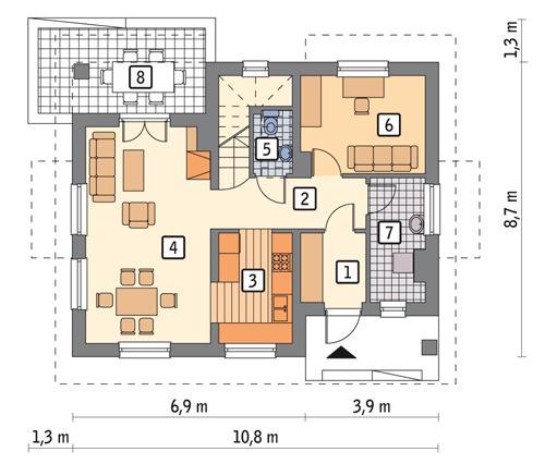Rzut parteru POW. 57,2 m²