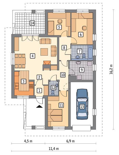 Rzut parteru POW. 117,6 m²