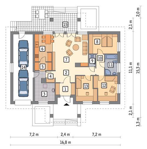 Rzut parteru POW. 147,5 m²