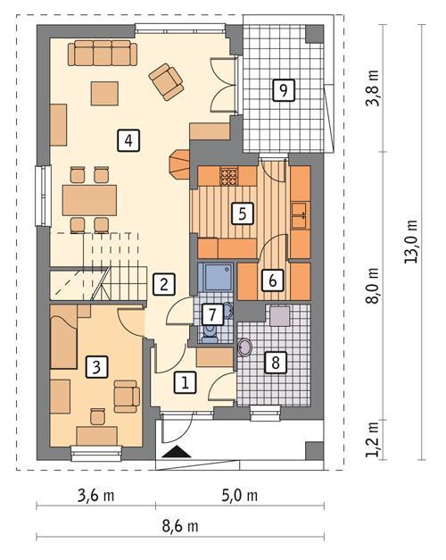Rzut parteru POW. 69,9 m²