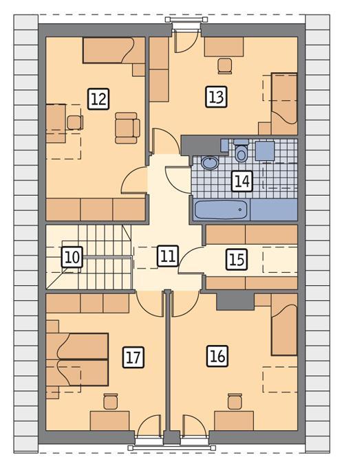 Rzut poddasza POW. 87,4 m²