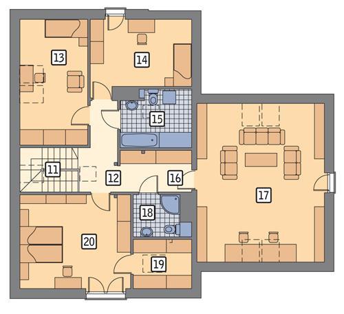 Rzut poddasza POW. 127,8 m²