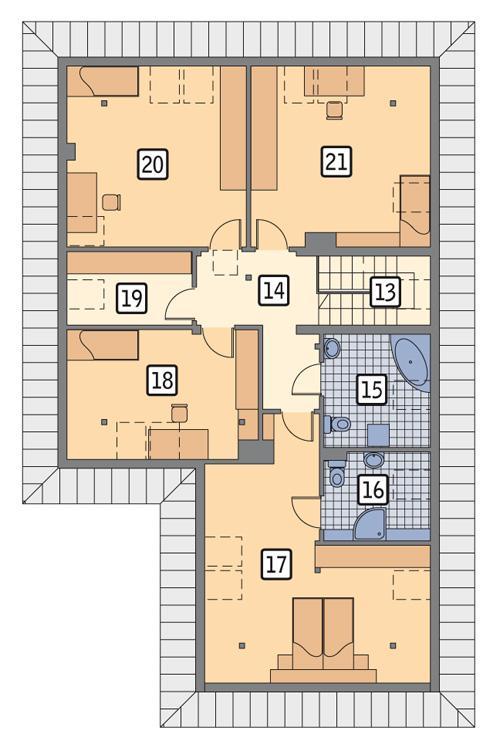 Rzut poddasza POW. 129,3 m²