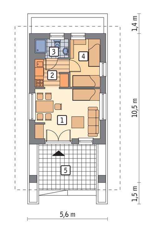 Rzut parteru POW. 29,4 m²