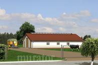 O04 Obora dla 21 krów mlecznych, uwięziowa (stanowiskowa), na płytkiej ściółce