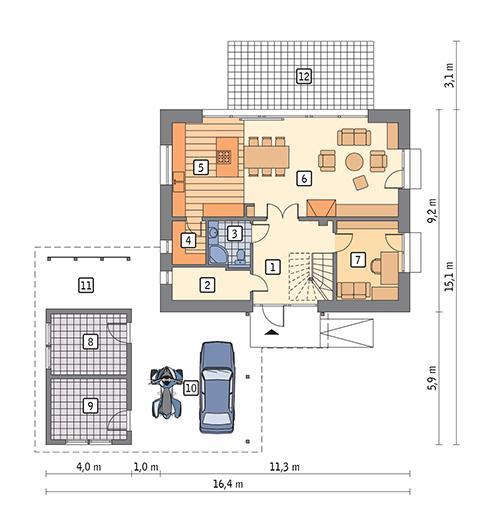 Rzut parteru POW. 77,6 m²