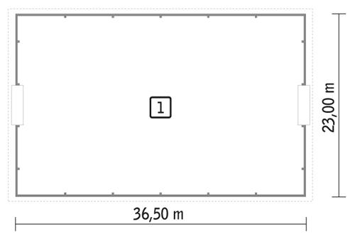 Rzut parteru POW. 807,6 m²