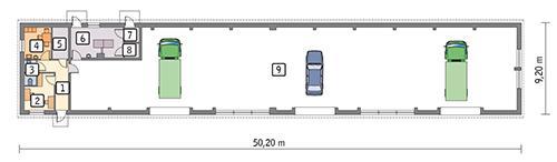 Rzut parteru POW. 397,9 m²