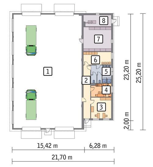 Rzut parteru POW. 490,7 m²