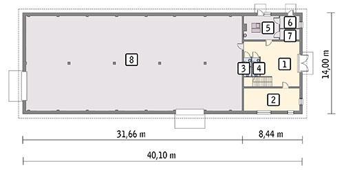 Rzut parteru POW. 499,6 m²