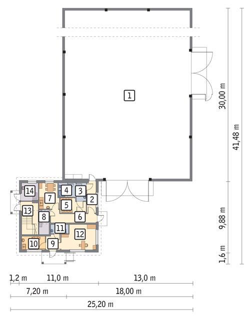 Rzut parteru POW. 596,1 m²
