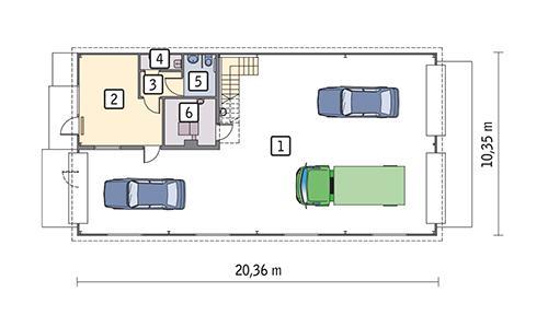 Rzut parteru POW. 198,8 m²