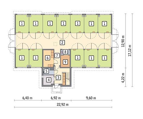 Rzut parteru POW. 274,1 m²