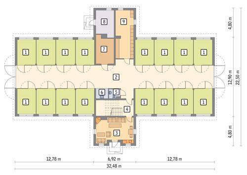 Rzut parteru POW. 420,7 m²
