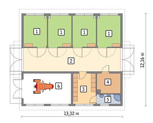 Rzut parteru POW. 133,4 m²