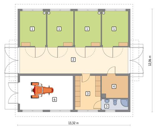Rzut parteru POW. 133,3 m²