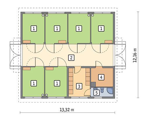 Rzut parteru POW. 133,7 m²
