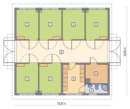 Rzut parteru POW. 133,8 m²