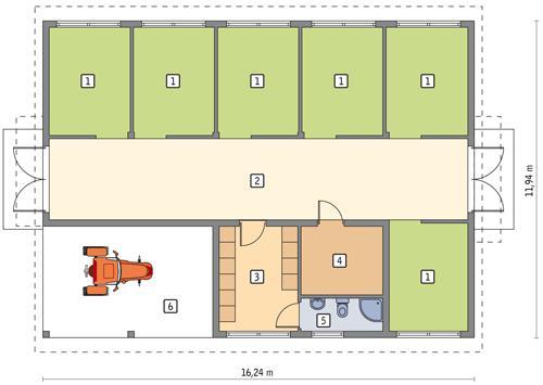 Rzut parteru POW. 167,6 m²