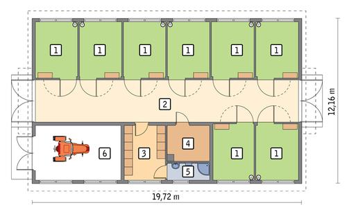 Rzut parteru POW. 203,8 m²