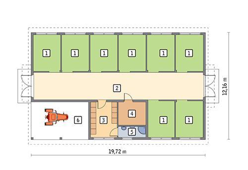 Rzut parteru POW. 202,1 m²