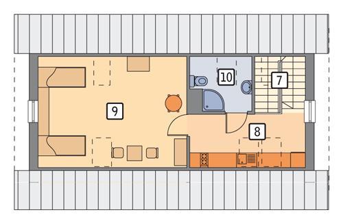 Rzut poddasza POW. 59,4 m²