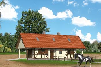 Stajnia dla 4 koni, z częścią mieszkalną