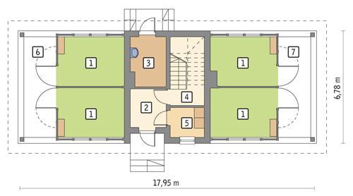 Rzut parteru POW. 70,4 m²