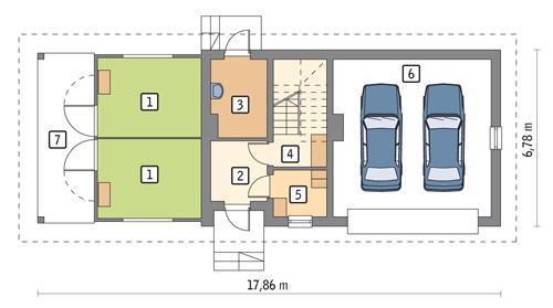 Rzut parteru POW. 82,4 m²
