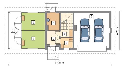 Rzut parteru POW. 96,2 m²