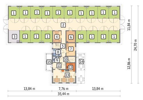 Rzut parteru POW. 458,6 m²