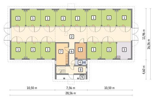 Rzut parteru POW. 325,6 m²