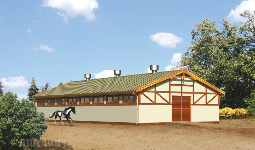 S12 Stajnia dla 10 koni z częścią mieszkalną