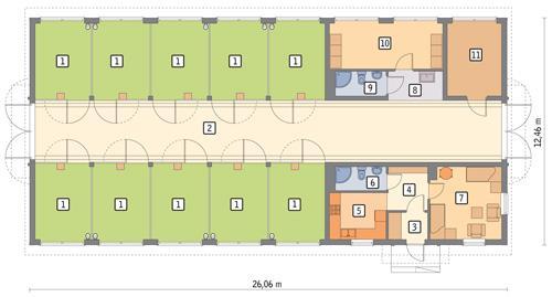 Rzut parteru POW. 279,3 m²