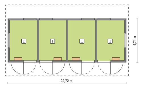 Rzut parteru POW. 51,1 m²