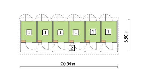 Rzut parteru POW. 80,9 m²