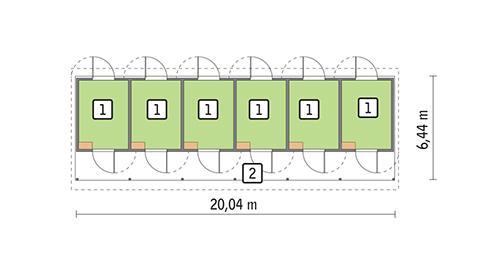Rzut parteru POW. 81,3 m²