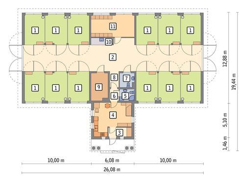 Rzut parteru POW. 315,1 m²