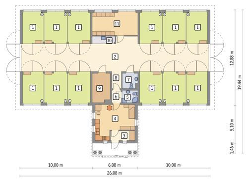 Rzut parteru POW. 317,1 m²