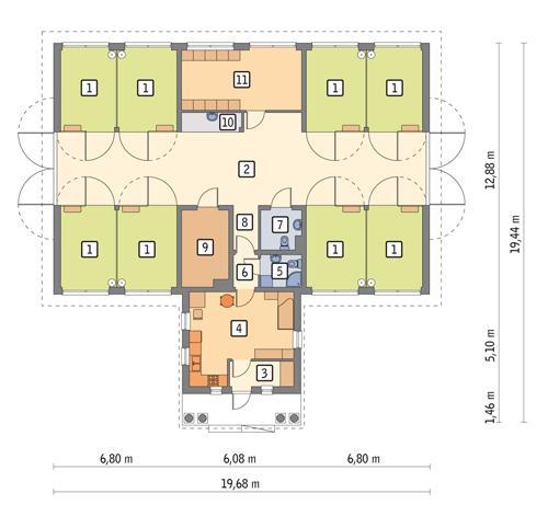 Rzut parteru POW. 227,1 m²