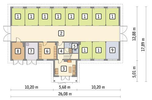 Rzut parteru POW. 305,2 m²