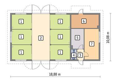 RZUT PARTERU POW. 160,2 m²