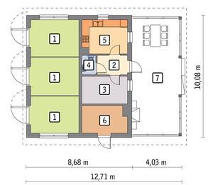 RZUT PARTERU POW. 67,4 m²
