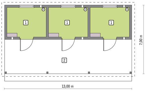 Rzut parteru POW. 36,1 m²
