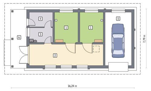 Rzut parteru POW. 87,8 m²