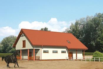 Stajnia dla 6 koni z częścią mieszkalną-rekreacyjną i poddaszem gospodarczym
