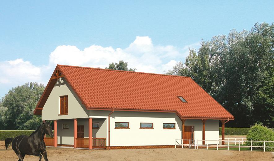 SC04 Stajnia dla 6 koni z częścią mieszkalną-rekreacyjną i poddaszem gospodarczym