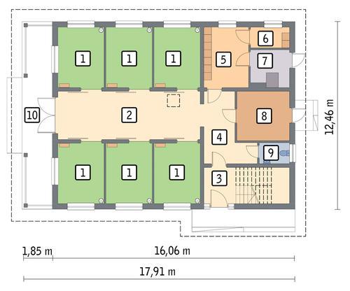 Rzut parteru POW. 160,3 m²